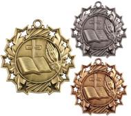 Religion Ten Star Medal - Gold, Silver & Bronze | Faith 10 Star Award | 2.25 Inch Wide