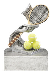 Tennis Racket and Balls Color Tek Trophy