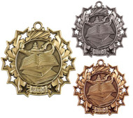 Reading Ten Star Medal - Gold, Silver & Bronze | Literacy 10 Star Award | 2.25 Inch Wide