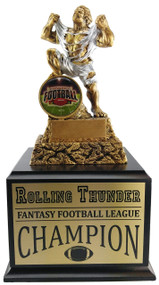 Fantasy Football Shield Perpetual Monster Trophy - Cherry Base