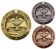 Academic World Class Medal - Gold, Silver & Bronze | Lamp of Knowledge Award | 3 Inch Wide