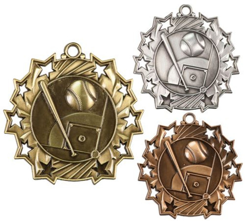 Baseball Ten Star Medal - Gold, Silver & Bronze | Little League 10 Star Award | 2.25 Inch Wide