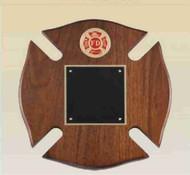 Firefighter Maltese Cross Walnut Plaque