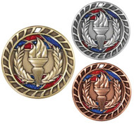Victory Torch Glitter Medal - Gold, Silver & Bronze