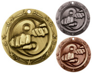 Martial Arts World Class Medal - Gold, Silver & Bronze | Karate Award | 3 Inch Wide