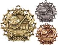 Golf Ten Star Medal - Gold, Silver & Bronze | Golfer 10 Star Award | 2.25 Inch Wide