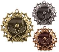 Tennis Ten Star Medal - Gold, Silver & Bronze   Tennis Racket 10 Star Award   2.25 Inch Wide