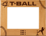 T-Ball Wood Picture Frame - Personalized