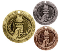 Victory Flame World Class Medal - Gold, Silver & Bronze | Victory Place Award | 3 Inch Wide