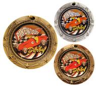 Pinewood Derby World Class Medal - Gold, Silver & Bronze | Boy Scout Race Award | 3 Inch Wide