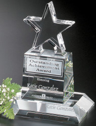 Champion Pedestal Star Crystal Corporate Award - Small 6""