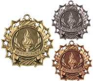 Participant Ten Star Medal - Gold, Silver & Bronze | Contribution 10 Star Award | 2.25 Inch Wide