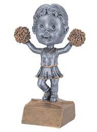 Pewter Cheerleading Bobblehead Trophy