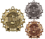 Music Ten Star Medal - Gold, Silver & Bronze | Performer 10 Star Award | 2.25 Inch Wide