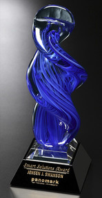 Blue Whirlwind Art Glass Corporate Award - 13.75""