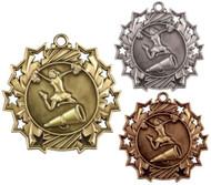 Cheerleading Ten Star Medal - Gold, Silver & Bronze | Spirit 10 Star Award | 2.25 Inch Wide