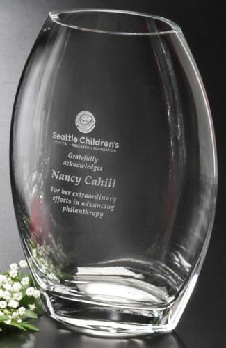Clear Oval Crystal Vase Award Corporate Award Crystal
