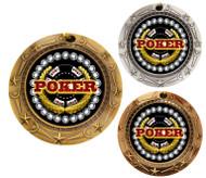 Poker World Class Medal - Gold, Silver & Bronze | Texas Hold 'em Award | 3 Inch Wide