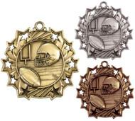 Football Ten Star Medal - Gold, Silver & Bronze | Gridiron 10 Star Award | 2.25 Inch Wide