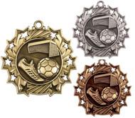 Soccer Ten Star Medal - Gold, Silver & Bronze | Futbol 10 Star Award | 2.25 Inch Wide