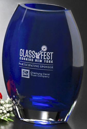 Cobalt Oval Crystal Vase Award Corporate Award Crystal