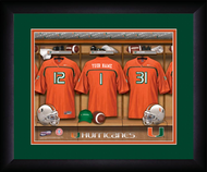 Miami Hurricanes Football Locker Room Print - Personalized NCAA-LRP-MIA