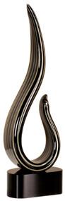 Art Glass Trophy - Black/Gold Curve