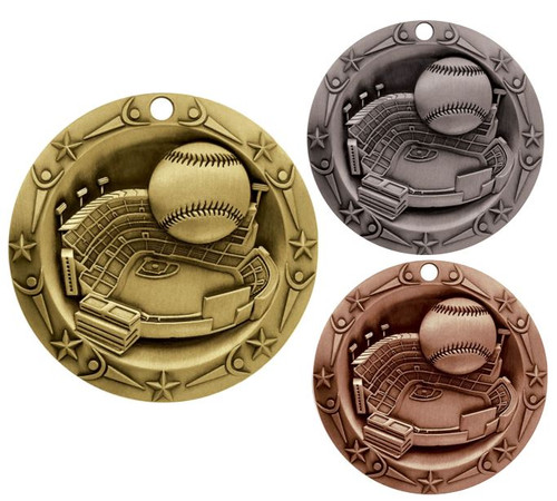 Baseball World Class Medal - Gold, Silver & Bronze | Little League Award | 3 Inch Wide