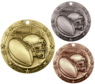 Football World Class Medal - Gold, Silver & Bronze | Gridiron Award | 3 Inch Wide