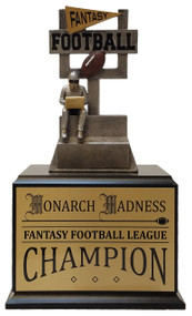 Fantasy Football Goal Post Perpetual Trophy - Black Base / Gold Plate