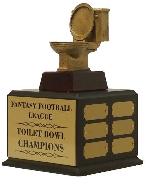 Fantasy Football Gold Toilet Bowl Perpetual Trophy | Golden Throne Last Place Award | 11.5 Inch Tall  - Cherry base without shield