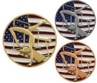 Gymnastics Patriotic Engraved Medal - Gold, Silver, Bronze | Red, White, Blue Gymnast Award | 2.75 Inch Wide