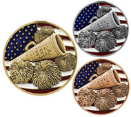 Cheer Patriotic Engraved Medal – Gold, Silver and Bronze | Red, White and Blue Spirit Award | 2.75 Inch