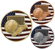Soccer Patriotic Engraved Medal – Gold, Silver, Bronze | Red, White, Blue Futbol Award | 2.75 Inch Wide