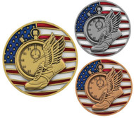 Track & Field Patriotic Engraved Medal – Gold, Silver, Bronze | Red, White, Blue Running Award |  2.75 Inch Wide