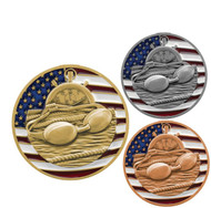 Swimming Patriotic Engraved Medal – Gold, Silver, Bronze | Red, White, Blue Swim Meet Award | 2.75 Inch Wide