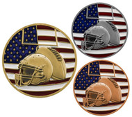 Football Patriotic Engraved Medal – Gold, Silver, Bronze | Red, White, Blue Gridiron Award | 2.75 Inch Wide
