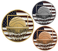 Basketball Patriotic Engraved Medal - Gold, Silver and Bronze | Red, White and Blue Hoops Award | 2.75 Inch