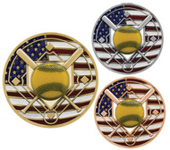 Softball Patriotic Engraved Medal - Gold, Silver and Bronze | Red, White and Blue Slow Pitch Award | 2.75 Inch Wide