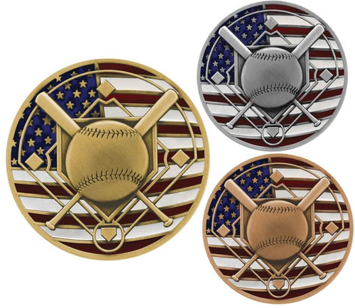 Baseball Patriotic Engraved Medal – Gold, Silver and Bronze | Red, White and Blue Baseball Diamond  Award | 2.75 Inch