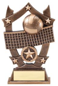 Volleyball 3D Gold Sport Stars Trophy   Star V-ball Player Award   6.25 Inch