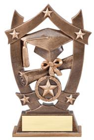 Graduate 3D Gold Sport Stars Trophy | Star Commencement Award | 6.25 Inch
