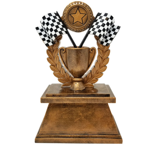 Racing Checkered Flag Trophy | NASCAR Cup Award | Derby Trophies | 7 Inch