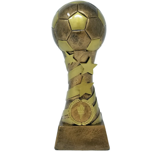 Soccer Stars & Stripes Tower Trophy | Soccer Star Spiral Trophy | Futbol Tower Award | 8 Inch