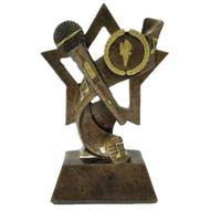 Microphone Trophy - Gold    Karaoke - DJ - Announcer - Mic Award   6 Inch