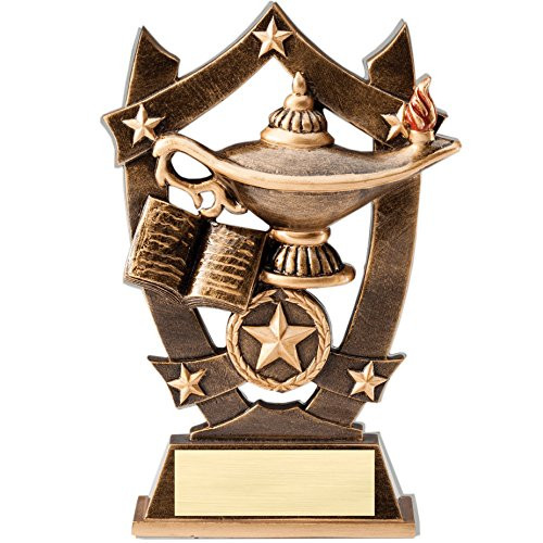 Academic 3D Gold Sport Stars Trophy   Star Lamp of Knowledge Award   6.25 Inch