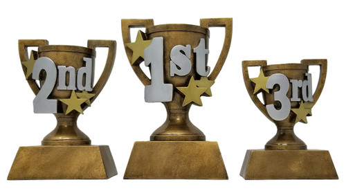 1st, 2nd & 3rd Place Gold Cup Trophy | 3D Gold Cup Place Award