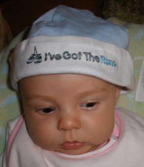 Runner Baby Beanie Hat - Baby Blue or Pink