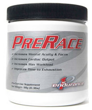 PreRace Powder by First Endurance. Improves cardiac output and performance while increasing mental clarity and focus.