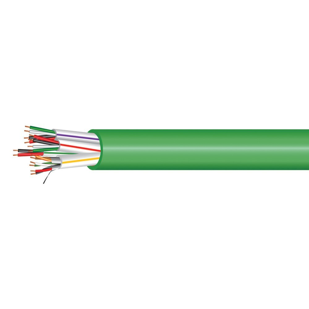 Electronic Lock Access Composite Control Cable - Riser Rated - Green PVC Jacket - 1000 Feet